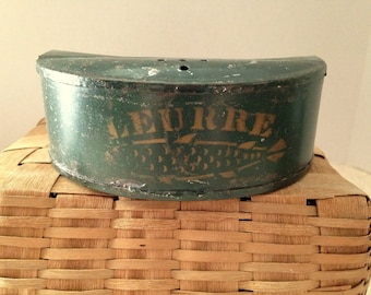 SALE  Late 19th to Early 20th Century Tin Stencilled Bait Box