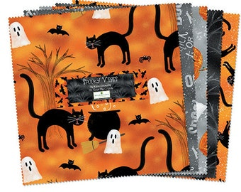 Charm Pack, 5 Inch Squares, 5 Karat Mini-Crystals, Spooky Vibes, Wilmington Fabrics, Katie Doucette,  Pre Cut Fabric, Halloween Fabric