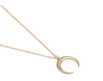 Necklace SATURN-Silver 925, necklace moon, silver moon, half moon, bath in gold, sterling silver