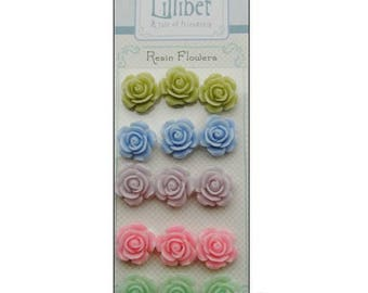 """Set of 15 roses resin stickers """"Lillibet"""" scrapbooking card making (ref.110) *."""