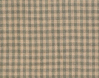 Homespun Fabric | Small Check Fabric | Sage Green And Natural Check Fabric | Cotton Rag Quilt Fabric | Sewing Fabric | Craft Fabric