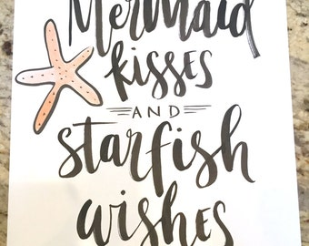 Mermaid Kisses and Starfish Wishes -- prints or cards