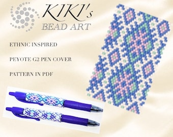 Pattern, peyote pen cover ethnic inspired geometric, peyote pattern for pen wrap - peyote pattern for G2 pen by Pilot - PDF instant download