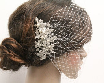 Bird cage veil,Wedding hair accessories,Bridal birdcage veil,Wedding headpiece birdcage,Wedding accessories,Bridal hair piece birdcage veil