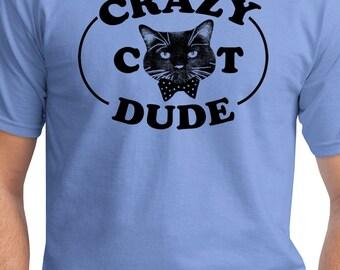 Crazy Cat Dude mens t shirt cute real men love cats crazy cat guy tee bow tie kitten cat lover