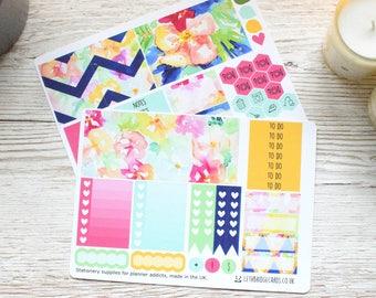Flower Burst ECLP Weekly Kit; Erin Condren Vertical Compatible; Vinyl Matt Planner Stickers; Mini Kit; Summer Kit; Flower Stickers