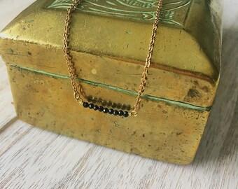 Black Spinel Gemstone Bar necklace