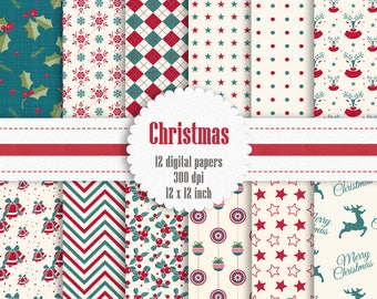 12 Christmas Digital Papers in 12 inch, Instant Download, High Resolution 300 Dpi, Commercial Use