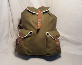 Vintage 1980's Military Green Canvas Backpack - NEW