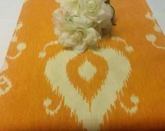 IKAT RUNNER COPPER -Table runner,  Ikat, rust with  natural, wedding,bridal 48 60 72 84 96 108