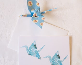 Origami Paper Cranes // Illustrated Greeting Card
