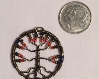 Purple and Pink Tree of Life Pendant