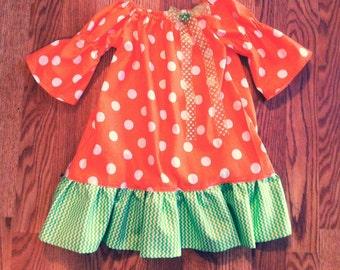Pretty Pumpkin Autumn Girls Dress