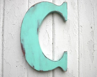 Wooden Letters Classic 12 inch Letter C Patina Wall Decor Kids wall art Initial Vintage style Shabby chic Cabin cottage dorm decor