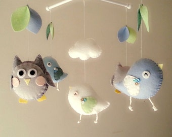 "Baby crib mobile, Bird mobile, Owl mobile, felt mobile, nursery mobile, baby mobile""Night Friends - Sky and Sliver"""