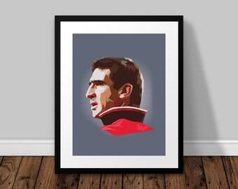 Eric Cantona Illustrated Poster Print | A6 A5 A4 A3