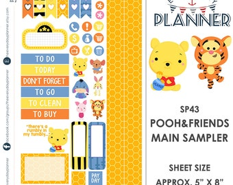 Winnie the Pooh & Friends Sampler Kit | Over 30+ Kiss-Cut Stickers | Erin Condren and Mambi  | Disney Inspired   SP043