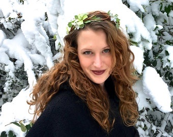 Princess Style Green Dogwood  and Labradorite Flower Crown / Fairy Crown / Headband / Rustic Wedding / Renaissance / Festival