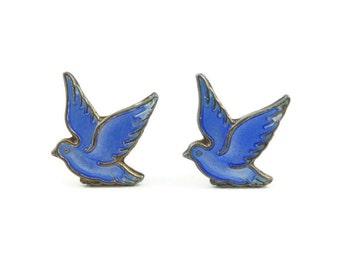 Vintage Sterling, Blue Bird Earrings, Enamel, Stamped 925