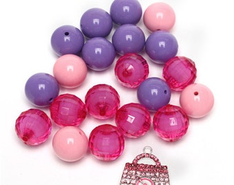 1 x Pink and Purple Purse Chunky Bubblegum Bead Set