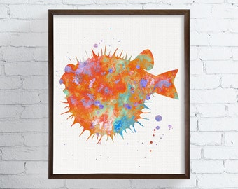 Blow Fish Art Print, Watercolor Blow Fish Painting, Fish Art Print, Watercolor Fish, Bathroom Decor, Coastal Wall Art, Sea Life Art, Nursery
