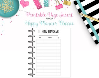 LAST CHANCE: Tithing Tracker Dashboard - Budget Binder Printable Page Insert for your Happy Planner Classic - Instant Download