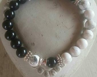 Onyx and Howlite bracelet