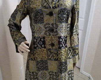 1990's Victorian Inspired Extra Long Suit Coat, Overcoat Gold, Black and Blue Brocade Steampunk, Formal, Wedding, Elegant