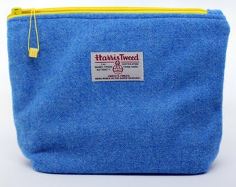 Blue Harris Tweed Make Up bag with bright yellow zip