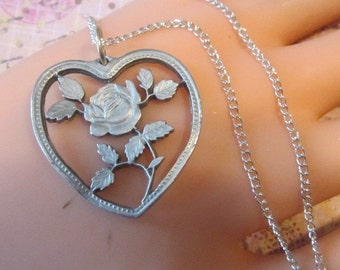 Vintage Heart and Rose Pewter Pendant and Chain