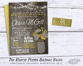 Rustic Wedding Shower Invitation, Mason Jar Bridal Shower Invitation Printable, Country Summer Shower Invite, String Lights, Yellow & White