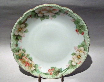 8532: Antique D & C Limoges France Cabinet Plate Delinieres Co Hand Painted Floral  at Vintageway Furniture