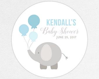 Elephant Favor Tag, Elephant Favor Label, Baby Shower Favor Tag, Baby Shower Favor Label, Elephant Shower, Balloon, Blue, Little Peanut