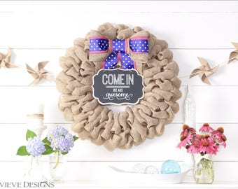 Spring Wreaths for Front Door, Easter Farmhouse Wreath, Burlap Front Door Wreaths, Summer Door Wreath