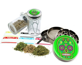 "Sugar Skull - 2.5"" Zinc Alloy Grinder & 75ml Locking Top Glass Jar Combo Gift Set Item # G021615-049"