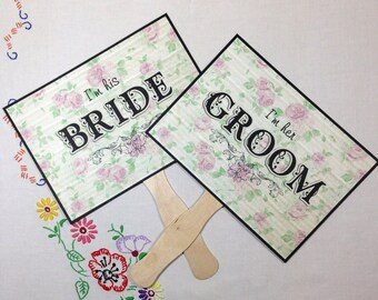 Wedding Photo Prop Sign, Double Sided Wedding Sign, Wedding Paddle Fans Floral Wedding Sign, Bride & Groom Sign, Thank You Wedding Sign