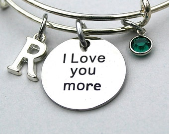 """Stainless Steel Charm - """" I Love You More """" Engraved Charm, Swarovski Birthstone, Personalize, Initial , Mother, Daughter, Gift For Her, R18"""