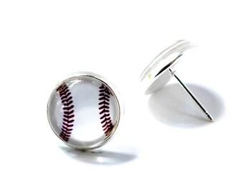 Baseball earrings, Baseball Jewelry, Glass Stud Earrings, Baseball glass earrings, Baseball Earring Studs