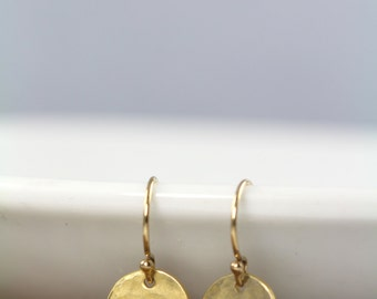 Gold Earrings, Dainty Dot Earrings , Valentine's Gift , Hammered, Small Simple Everyday Earrings, Gold Circles, 18k Gold Fill