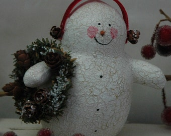 Folk Art Snowman with Winter Wreath (X-SS-EARMUFF-N)