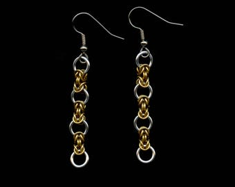 Brass and Aluminium Chainmail Earrings