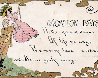 VINTAGE RHYME POSTCARD, Vacation Days, collected by junqueTrunque.