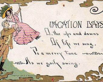 VINTAGE rime carte postale, des jours de vacances, recueillis par junqueTrunque.