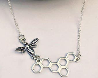 Sterling Silver Bee Necklace, Dainty Honeycomb Bee, Geometric Bee Minimal Necklace, Bee Charm Necklace, Tiny Honeybee Necklace
