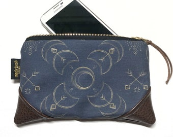 Mini Boho Solar Eclipse x Brown Zipper Pouch / Mini Clutch with inside lining and Zipper Pull or Leather Wristlet Strap