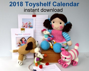2018 Printable Calendar - Toyshelf Mischievous Mice - 3 sizes - A4, A5, A6 - Monthly planner - PDF Instant download