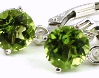 Peridot, 925 Sterling Silver Leverback Earrings, SE017
