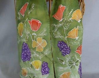 "Silk Scarf (Small) Moss Green ""California Wildflowers"", Hand Painted Silk Scarf, Golden Poppy Scarf"