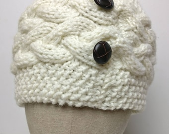 Hand knit Donegal cable hat