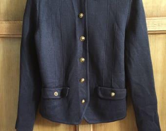 Womens Vintage County Jersey Pure Wool Cardigan Top UK10 US8 EU38